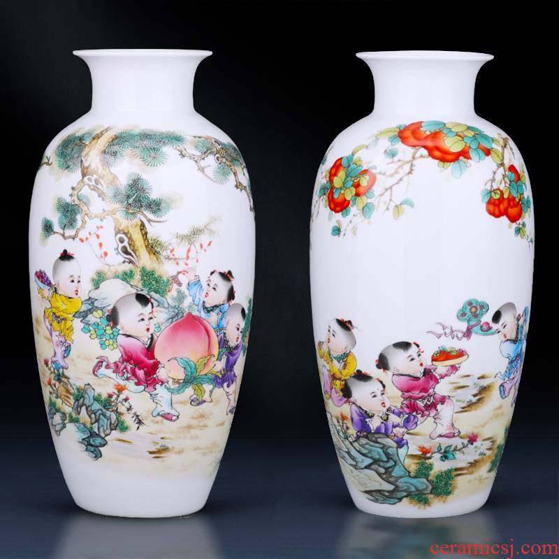 Jingdezhen ceramics powder enamel characters vases, flower arrangement sitting room place, Chinese style living room TV cabinet decoration decoration