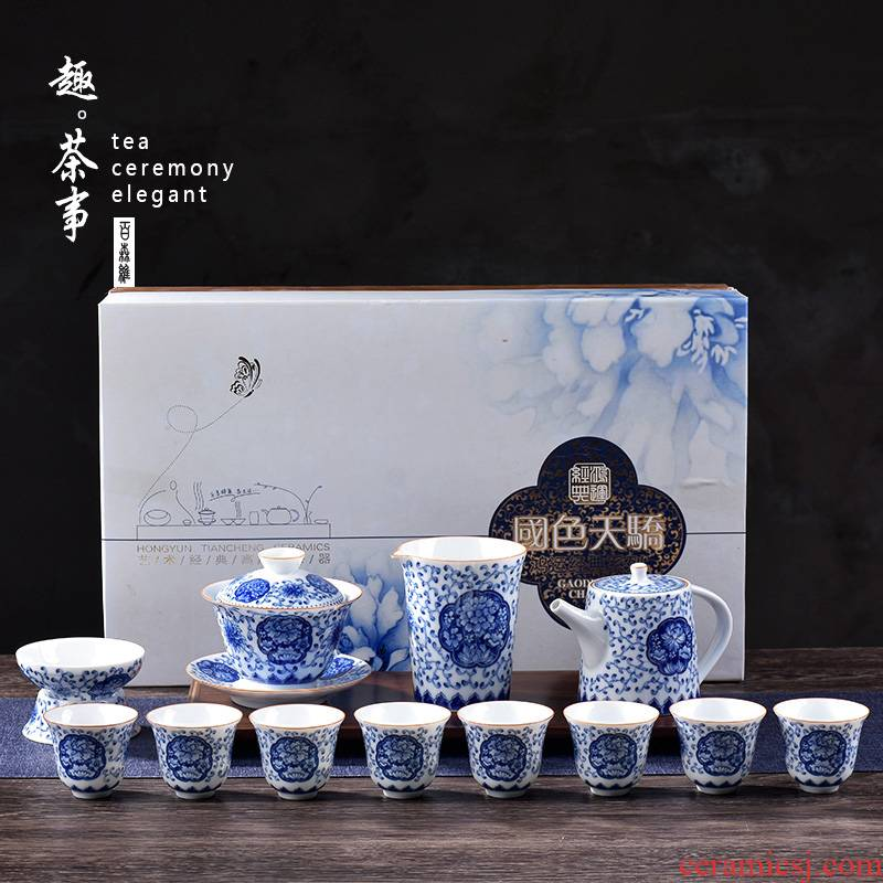 Jingdezhen blue and white porcelain tea sets of high - grade ceramic cups lid bowl of kung fu tea whole household gift box