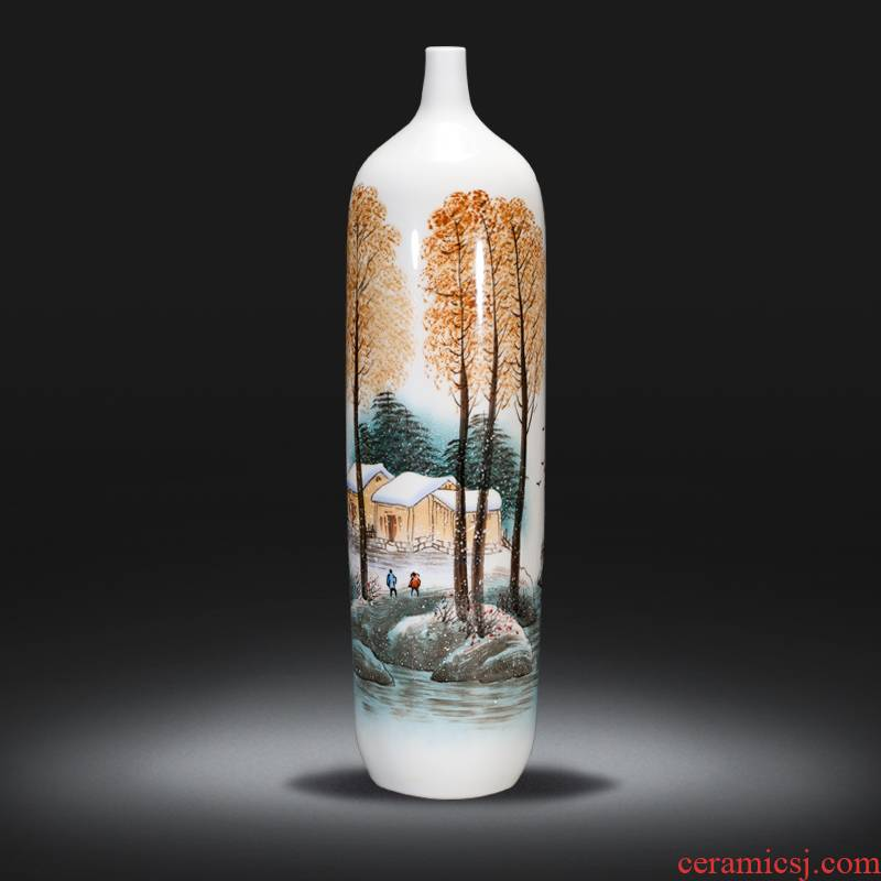 Jingdezhen ceramics by hand draw high vase furnishing articles of the new Chinese style household living room TV cabinet decoration decoration