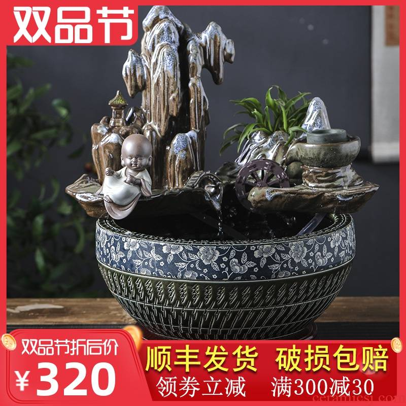 Jingdezhen ceramic aquarium desktop furnishing articles sitting room creative small rockery fountain water automatic cycle humidifier