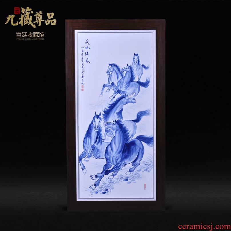 Jingdezhen ceramics Liu Shuwu hand - made the glory of heaven and earth porcelain plate painting adornment household handicraft furnishing articles