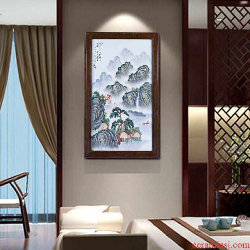 Jingdezhen porcelain plate painting hand - made Chinese style pastel landscape painting the sitting room adornment office housewarming gift that hang a picture