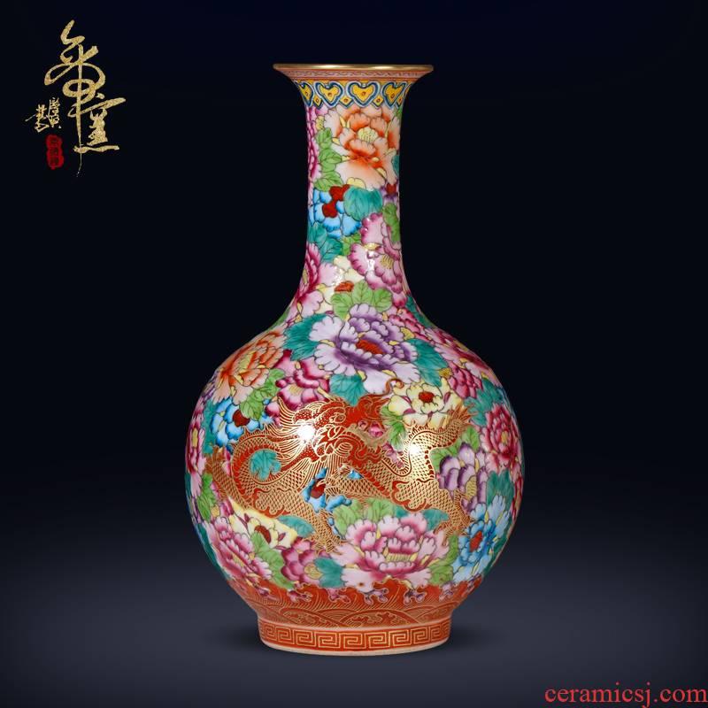 Jingdezhen ceramics archaize the qing qianlong enamel dragon wear Chinese style flower vase sitting room porch crafts