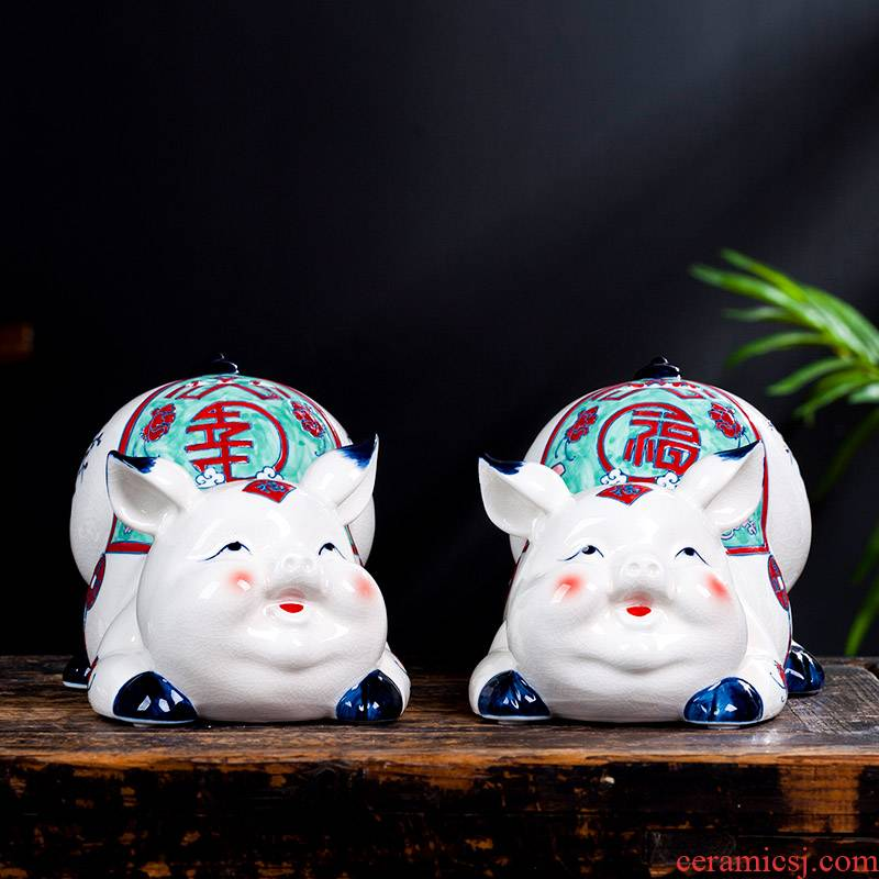"""Zodiac ornament white porcelain of jingdezhen ceramics happy """"sitting room of Chinese style household furnishing articles creative ceramic arts and crafts"""