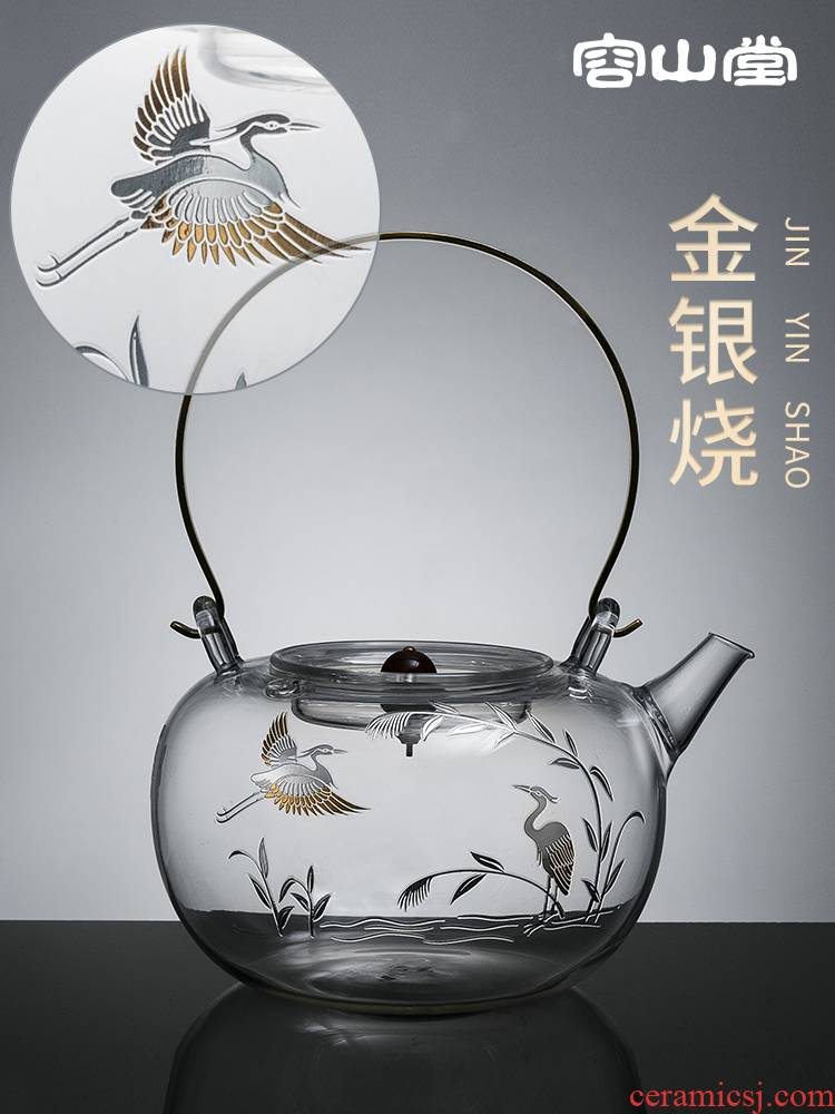 Burn it RongShan hall of gold and silver glass stainless steel tank.mute the boiled tea, the electric kettle TaoLu tea stove set tea service