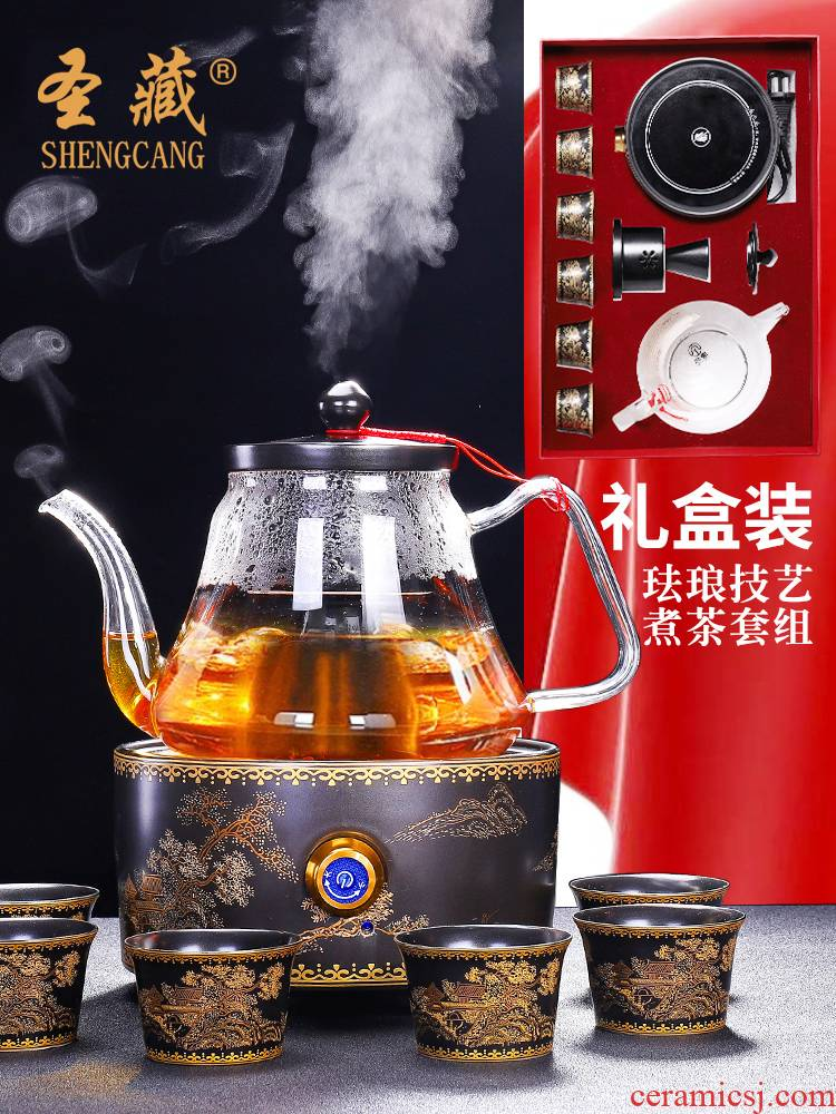 Glass suits for the boiled tea, the electric TaoLu Chinese wind restoring ancient ways automatic steaming kettle boil tea stove black tea cups