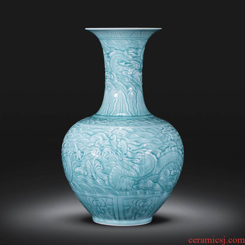 Jingdezhen ceramics by hand carved dragon archaize shadow blue bottles of Chinese Angle of what adornment is placed large living room