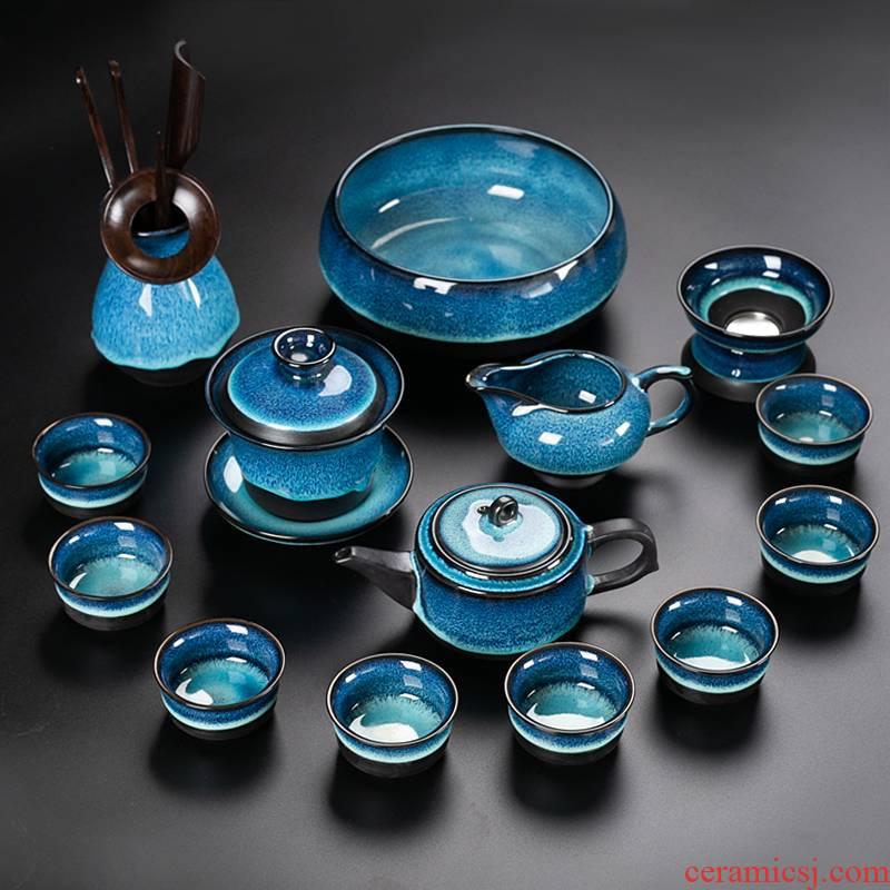Built lamp that make tea tea set suit household up ceramic cups lid bowl of tea kungfu tea Chinese kung fu