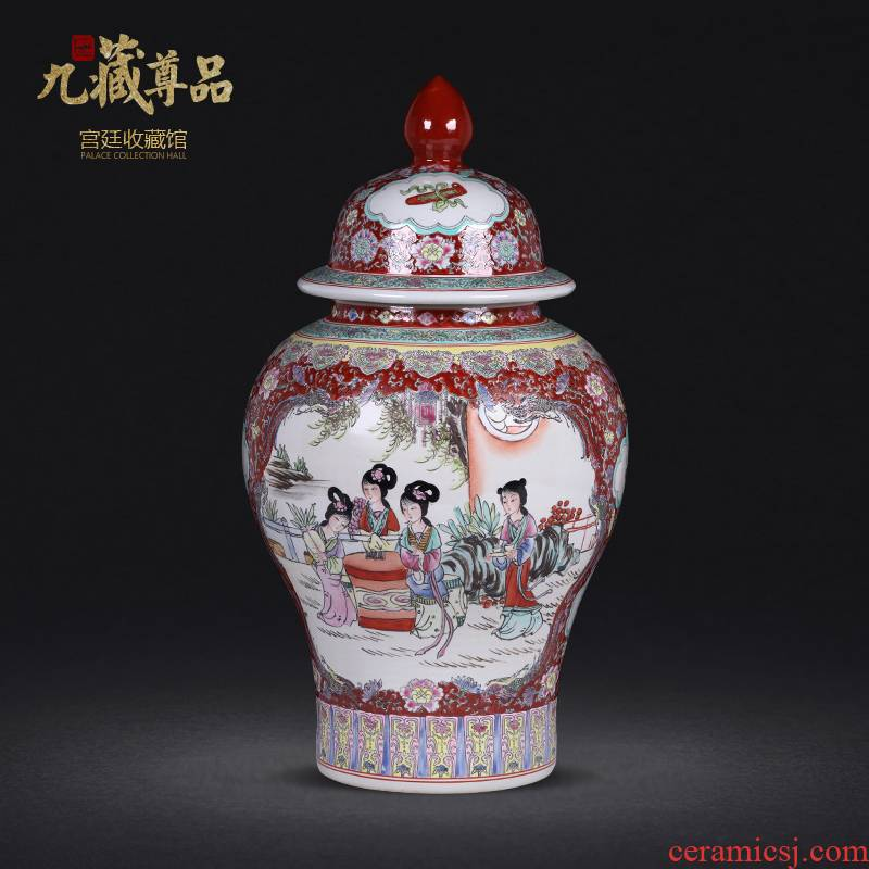 Jingdezhen ceramic antique hand - made colored enamel window eight general beautiful pot sitting room home furnishing articles
