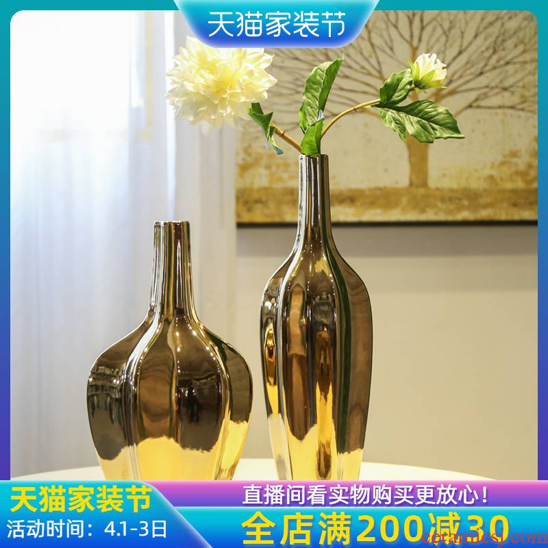 Jingdezhen ceramic furnishing articles between example of new Chinese style club house decoration decorative vase gold - plated flower implement TV ark, receptacle