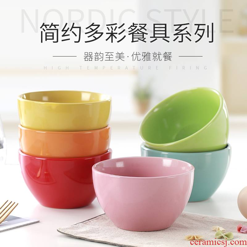 Contracted household ceramic rice bowl, lovely candy color bowls the home has children eat bowl dish suits for combination