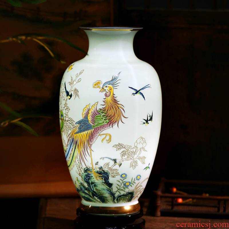 Jingdezhen chinaware paint vase furnishing articles sitting room flower arranging birds pay homage to the king home sitting room adornment is placed