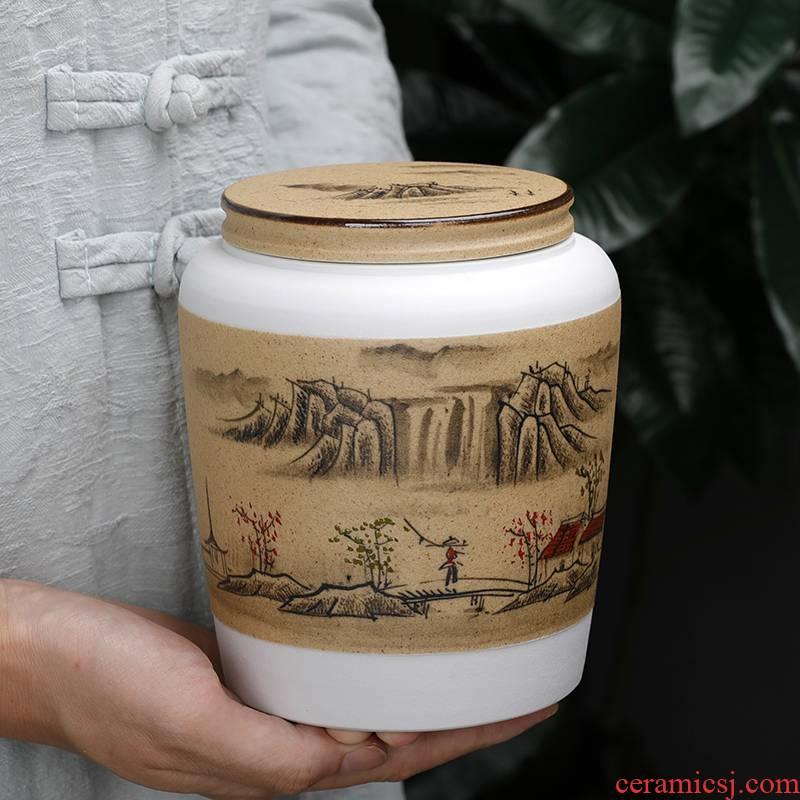 Coarse pottery caddy fixings ceramic small seal pot portable puer tea pot with half jins home moisture storage POTS