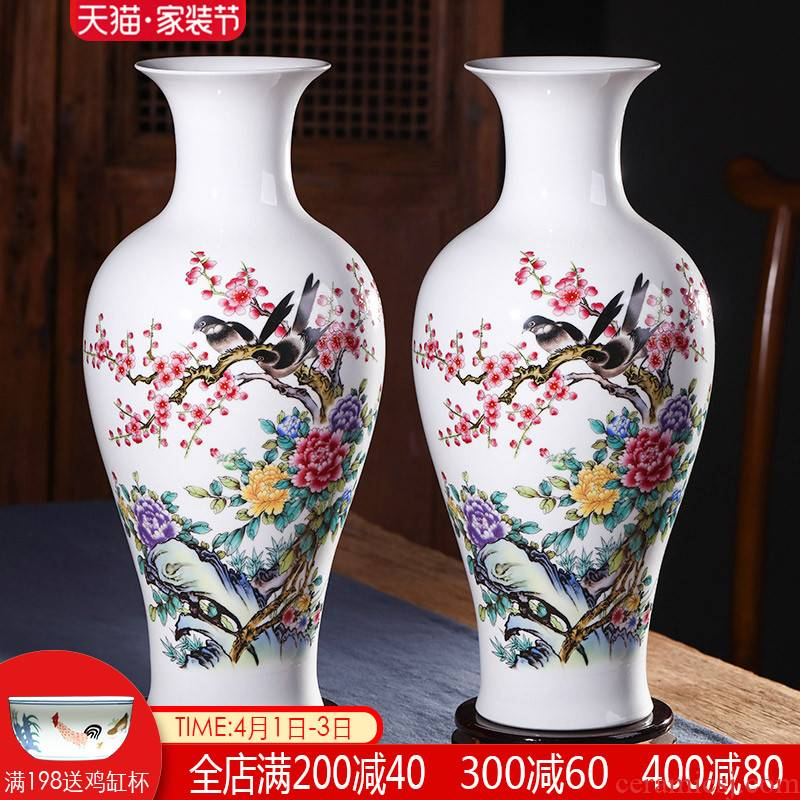 Jingdezhen ceramics of large sitting room vase dried flowers, Chinese style household adornment furnishing articles large TV ark