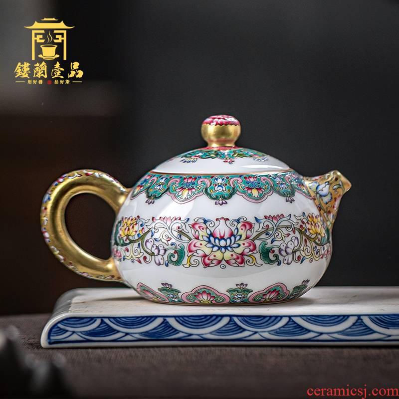 Jingdezhen checking made pottery and porcelain enamel bound branch lotus wen xi shi pot of high - grade enamel teapot fuels the teapot