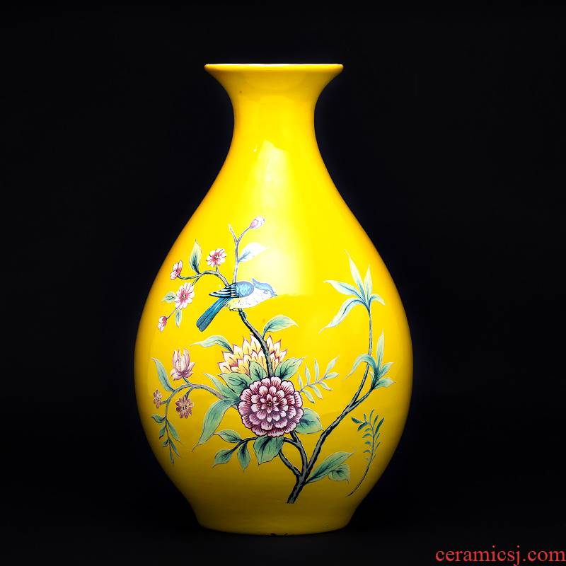 Jingdezhen ceramic powder enamel vase sitting room porch place rural wind flower arranging machine of Chinese style household decorations, gifts