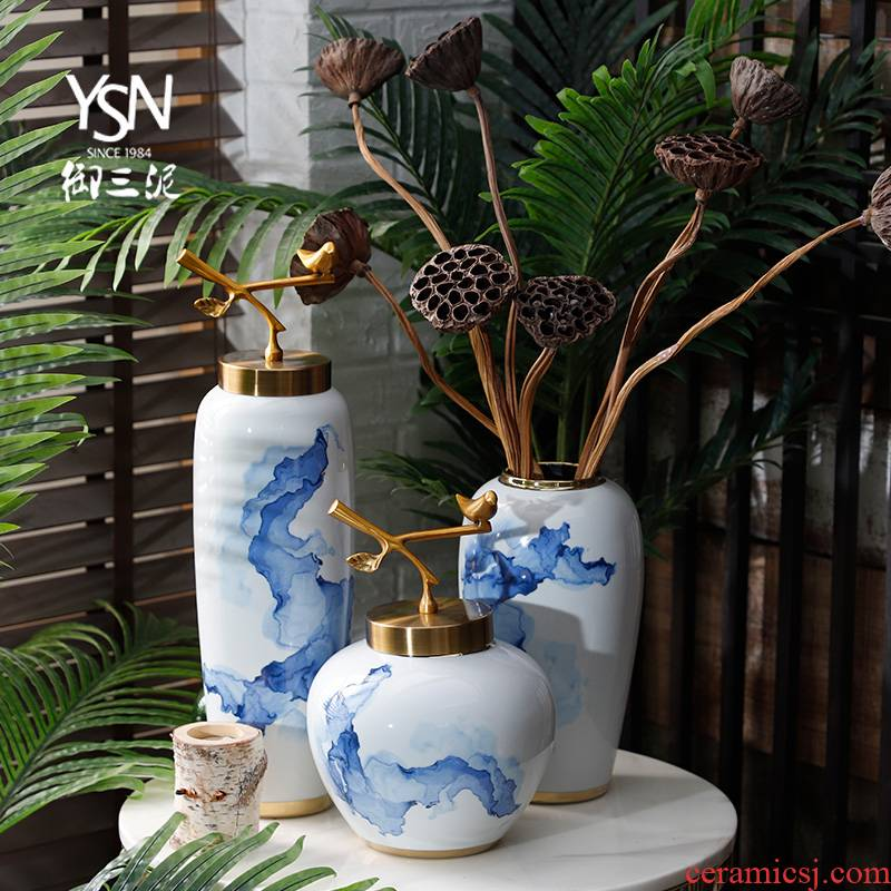 Ceramic vase furnishing articles I and contracted sitting room blue and white Chinese flower arranging dried flower flower, white household soft adornment