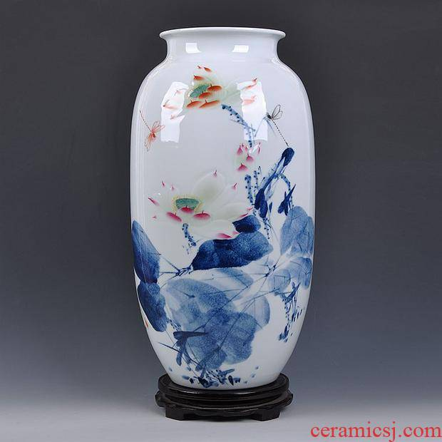 Jingdezhen ceramic furnishing articles hand - made blue anaglyph large vases, flower arrangement sitting room porch Chinese decorative arts and crafts