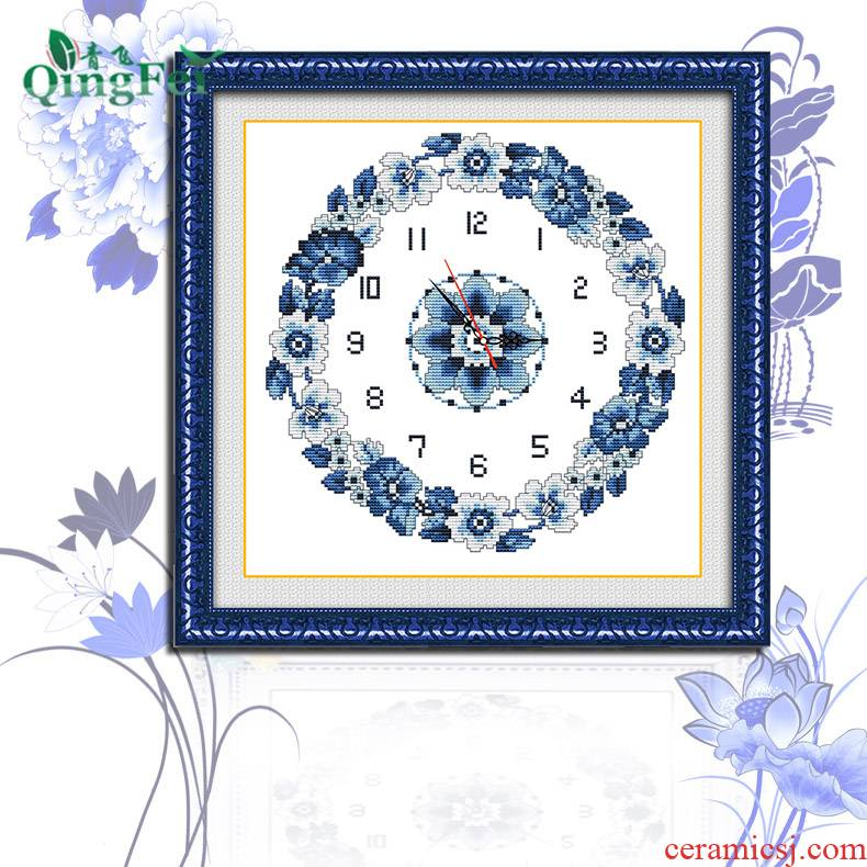 China full of blue and white porcelain cross - stitch, hang a clock and watch classic elegant orchid send.mute seven economic the draw background wall movement restaurant