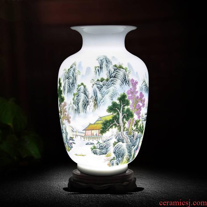 Modern Chinese landscape three - piece vase cb54 jingdezhen ceramics soft adornment handicraft furnishing articles in the living room