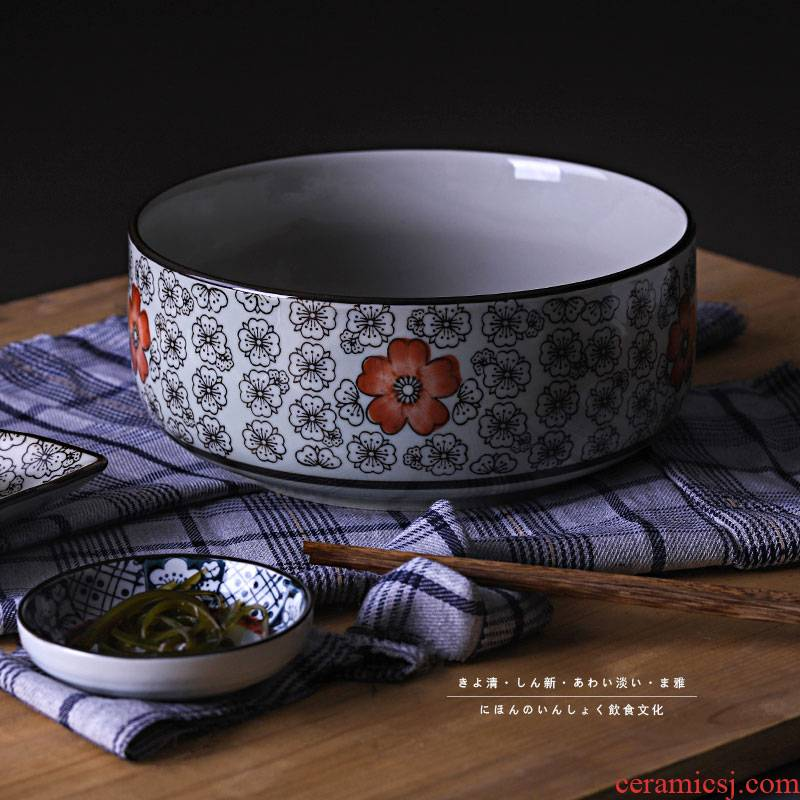 A Japanese 8 inches soup bowl with thick ceramic tableware without cover big bowl mercifully rainbow such use large household ceramics