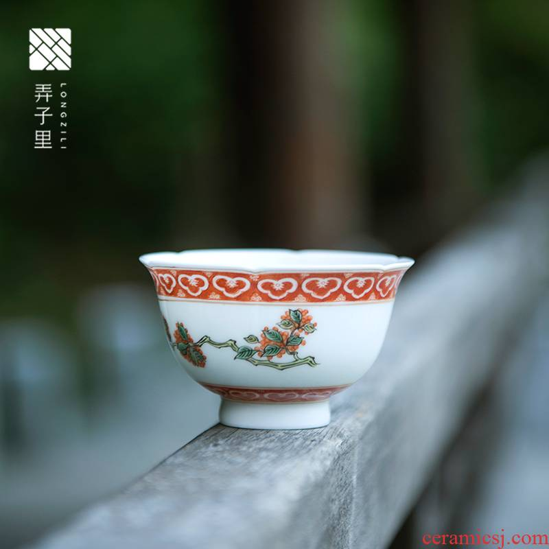 Made in jingdezhen ceramic cups manual hand - Made flowers expressions using the sample tea cup kung fu ancient Mosaic gold laurel masters cup