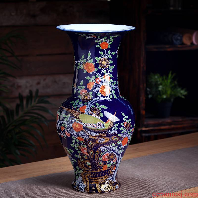Jingdezhen ceramic vase furnishing articles blue Chinese hand - made paint archaize sitting room flower arranging rich ancient frame decorate restoring ancient ways