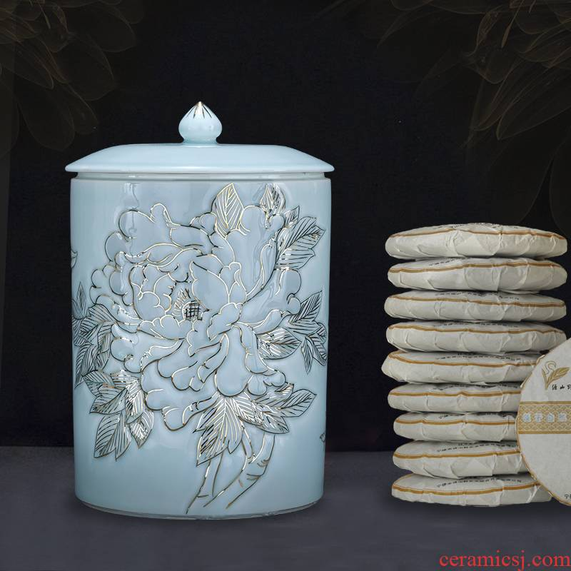 "Jingdezhen ceramic fuels the caddy fixings seal will ""bringing a large household storage jar with pu 'er tea storehouse"