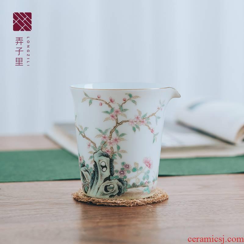 A Figure in a single tea sea jingdezhen manual kung fu tea tea GongDaoBei domestic large - sized ceramic fair keller points