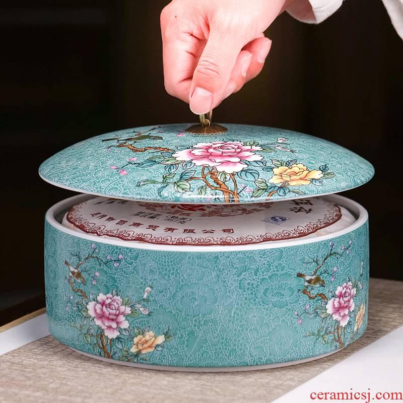 Pick flowers, jingdezhen ceramic tea pot large wake receives pu white tea tea cake storage POTS sealed as cans of household