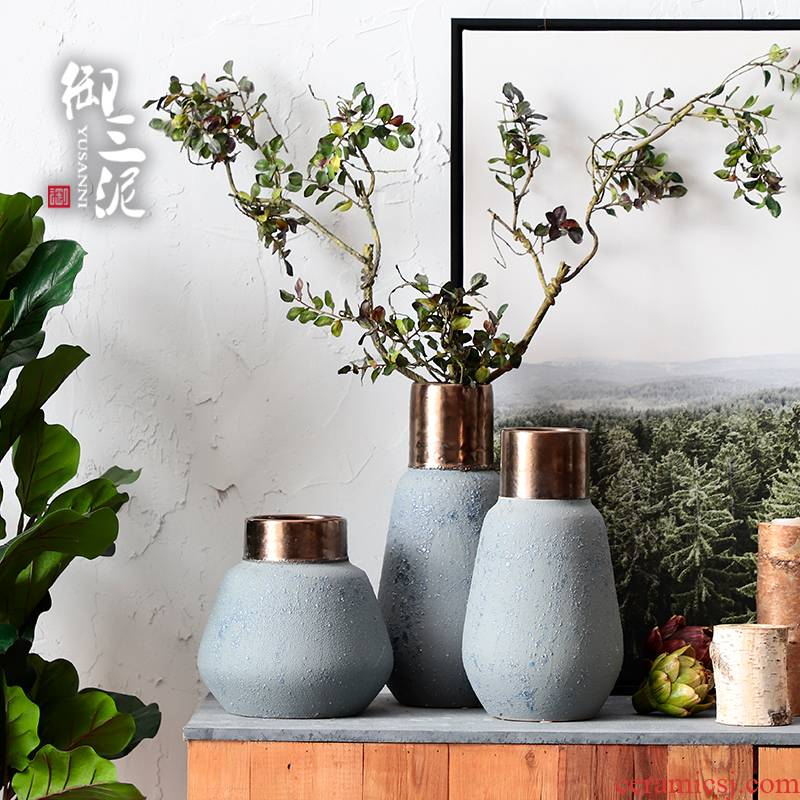 Coarse pottery metal light the key-2 luxury of I and contracted ceramic vases, dried flower decoration furnishing articles Coarse some ceramic pot retro flower arranging flowers