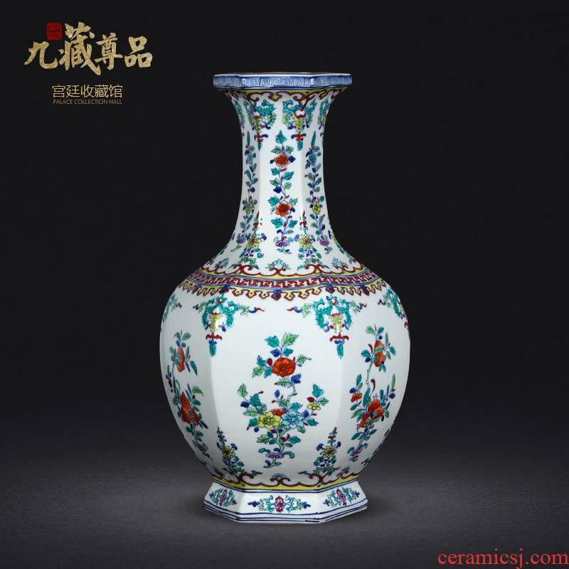 Jingdezhen ceramics vase furnishing articles celebrity hand - made ceramic vase archaize ceramic vases, bucket color hexagonal vase
