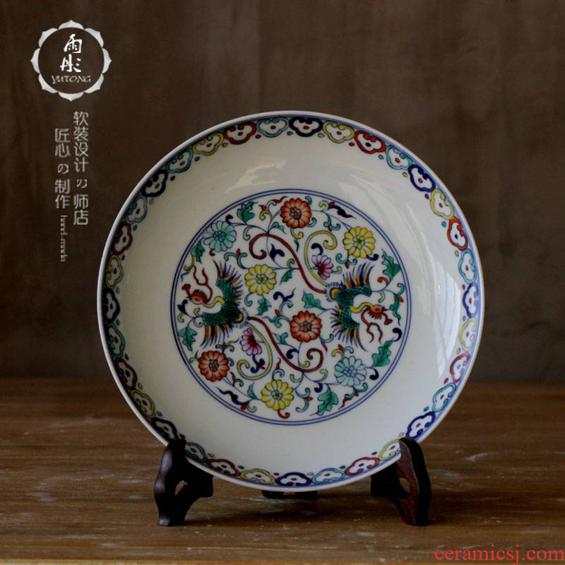 The rain tong home | jingdezhen ceramics hand - made famille rose decoration plate furnishing articles plate household ceramic plate