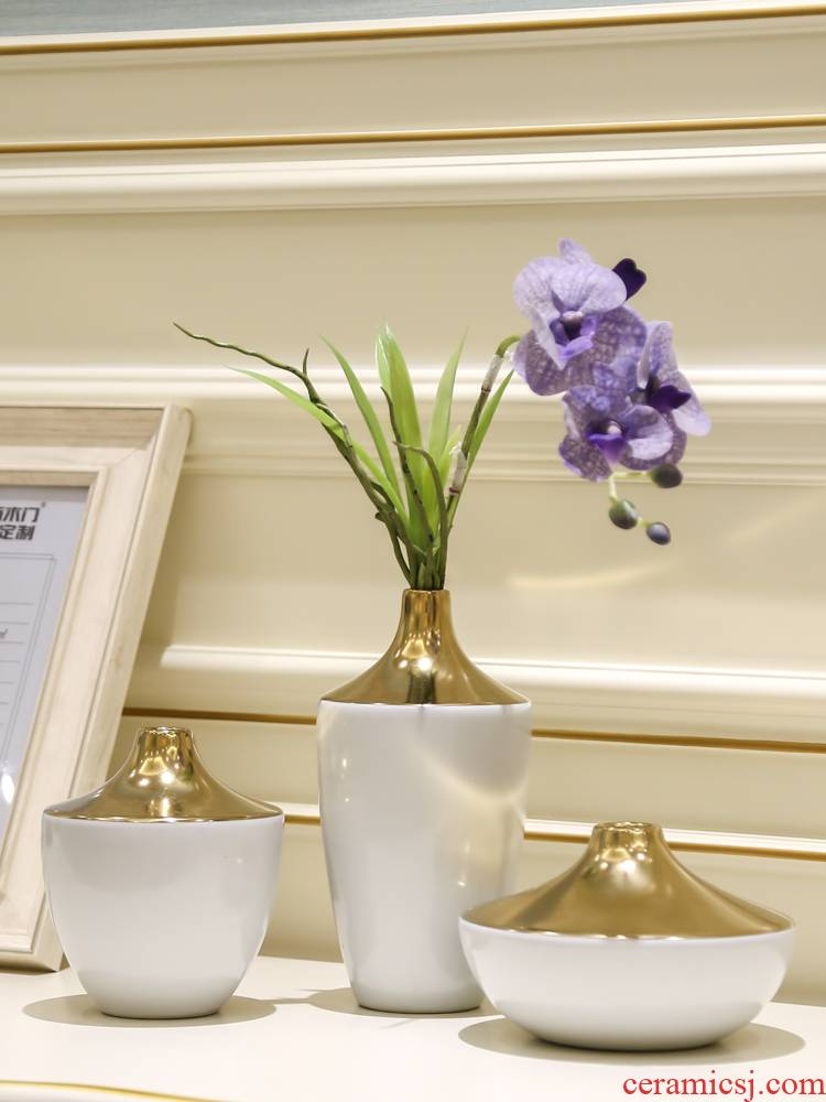 Jingdezhen ceramic flower implement of new Chinese style porch light sitting room key-2 luxury furnishing articles flower vases, modern example room decorations