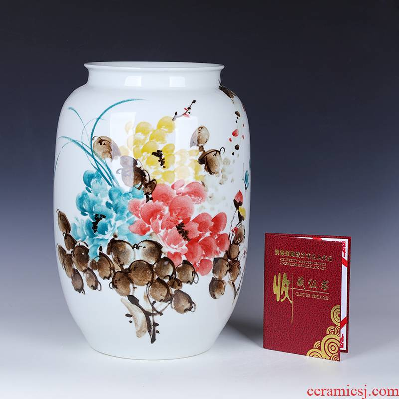 Jingdezhen lucky bamboo ceramic vase furnishing articles large sitting room 50 cm flower arranging a super - large diameter water bottle peony