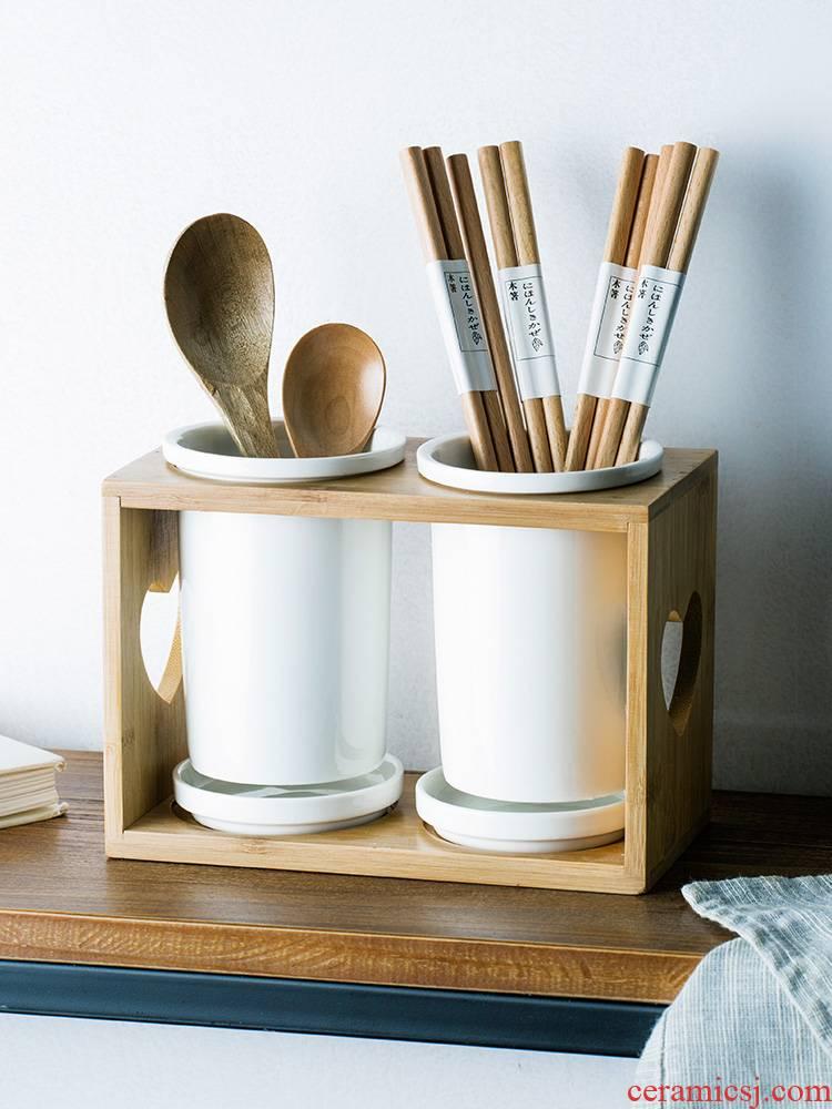 Beauty color porcelain ceramic chopsticks mouldproof shelf drum drop household kitchen spoon put chopsticks tableware wipe boxes