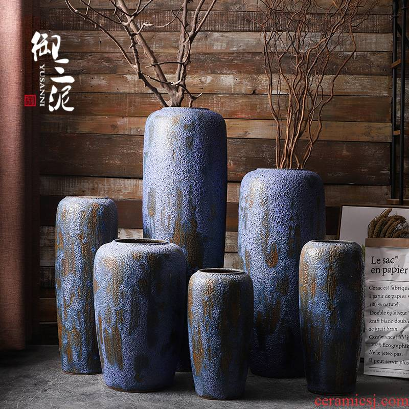Big blue porcelain vase restoring ancient ways American ground dried flower arranging flowers home porch adornment of I sitting room furnishing articles