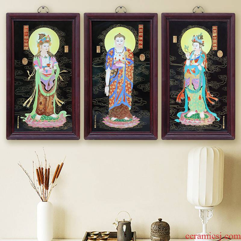 Jingdezhen ceramics famous hand - made porcelain plate paintings carved Buddha bodhisattva hang a picture to the sitting room adornment picture three st in the west