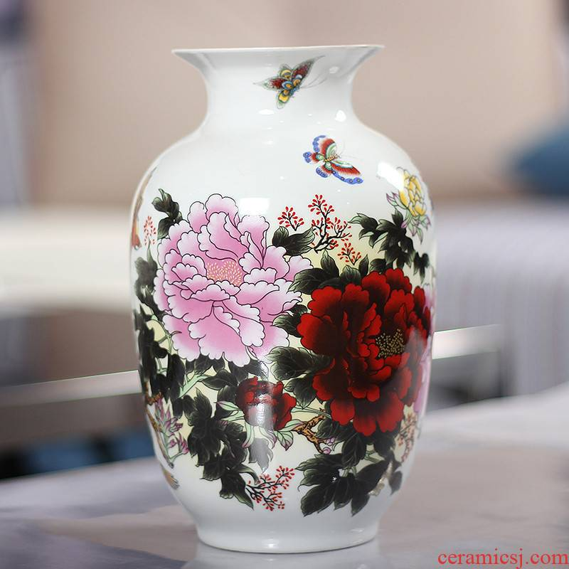 192 JingQin jingdezhen porcelain ceramic vases, red peony idea gourd bottle home furnishing articles