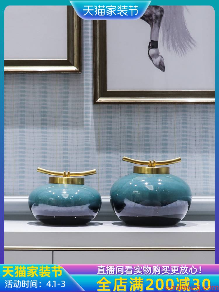 Jingdezhen ceramic new Chinese style living room TV cabinet vase porch place flower, flower decoration between example table