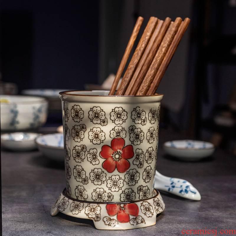 Take a hand - drawn glaze color ceramic base under Japanese chopsticks chopsticks cage tube of style restoring ancient ways of creative drop
