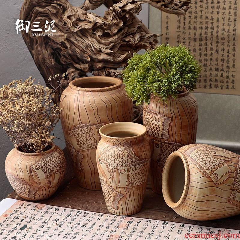Coarse pottery dried flowers flower arrangement furnishing articles ornaments manual its pottery rural meaty plant potted flower pot vase