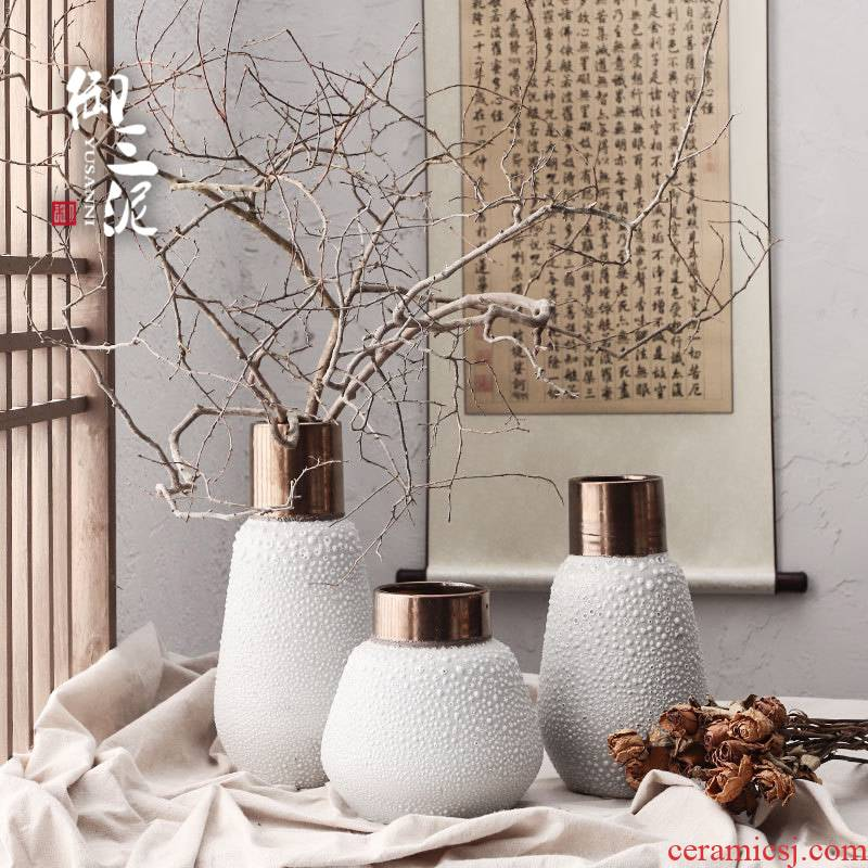 Light the key-2 luxury of I and contracted ceramic vases, dried flower adornment furnishing articles coarse some ceramic pot flower arranging flowers restore ancient ways, white mercifully black copper