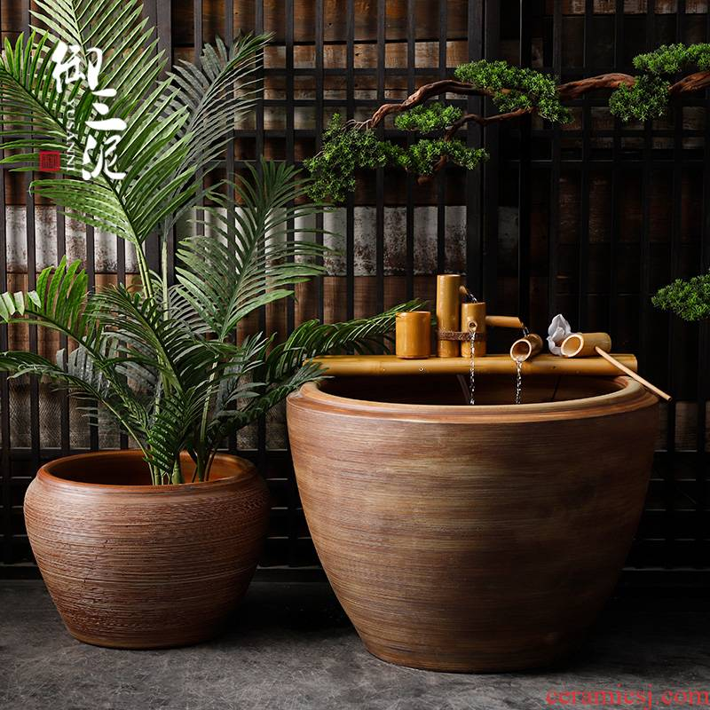 Ceramic coarse pottery to heavy manual circle altar tank tank floor furnishing articles courtyard garden brown wood grain texture lines