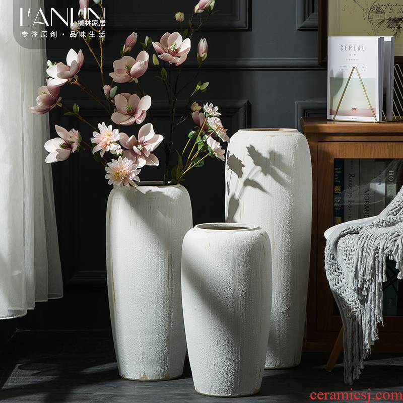 Ground vase large white living room the dried flower art I household coarse pottery Chinese ceramic pottery house furnishing articles