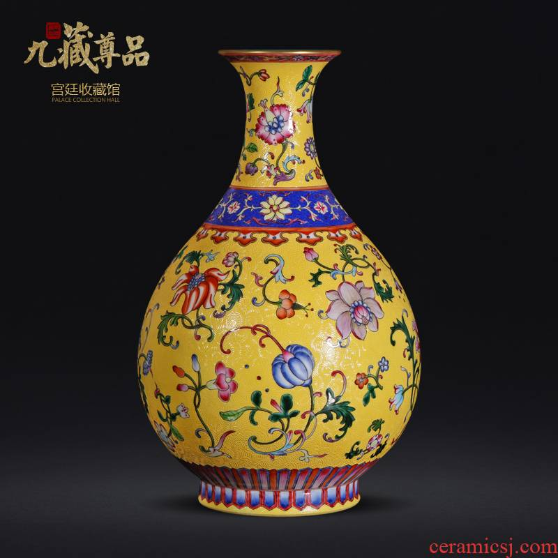 Jingdezhen ceramic hand - made colored enamel to pick the flower to flower okho spring rich ancient frame vase home furnishing articles