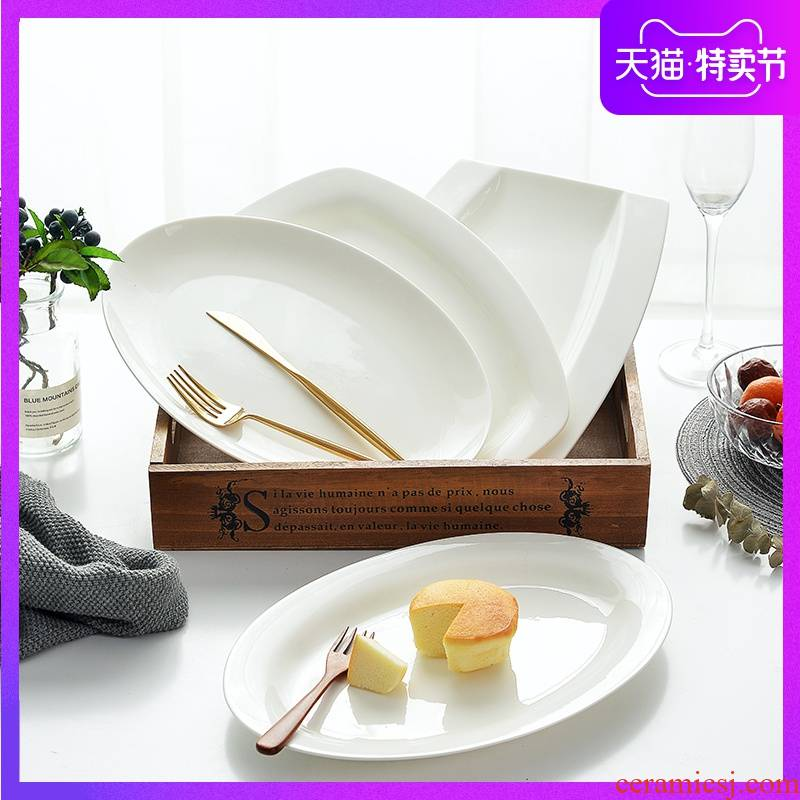 Pure white ceramic plate household number creative dish dish dish of rectangular Japanese fish dish of steamed fish plate tableware