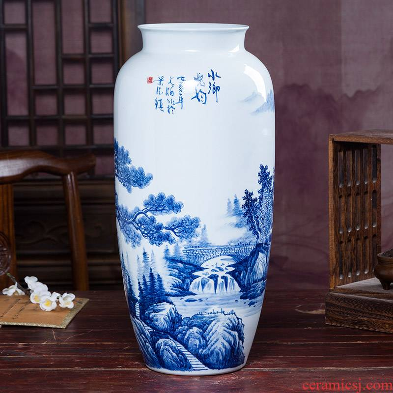 Jingdezhen ceramics hand - made porcelain bottle of archaize sitting room of Chinese style household rich ancient frame trinket flower arranging furnishing articles
