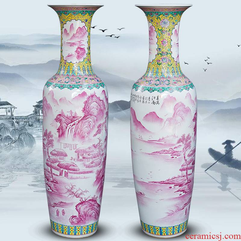 Jingdezhen ceramics hand - made pastel landscape big vase furnishing articles Chinese sitting room ground adornment hotel decoration