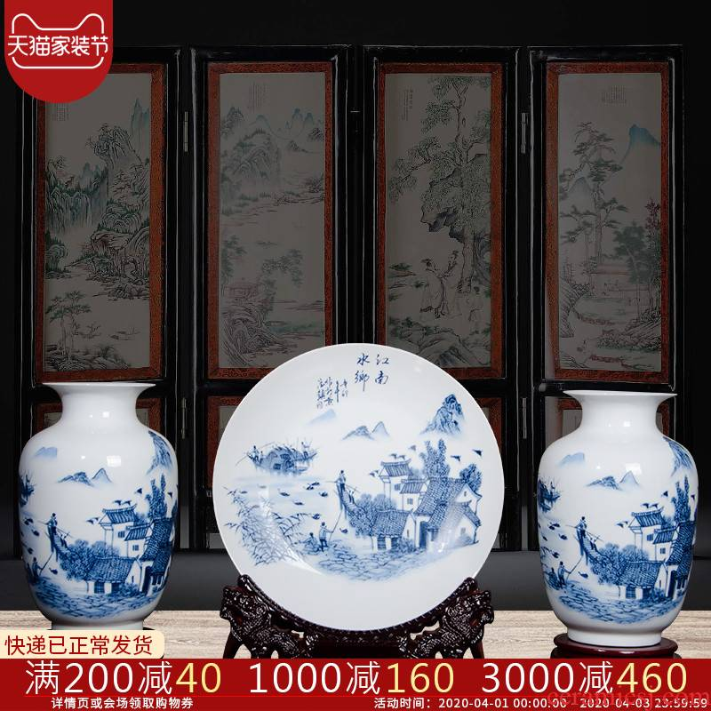 Jingdezhen blue and white ceramics three - piece vase furnishing articles of modern Chinese style household flower arrangement sitting room adornment ornament